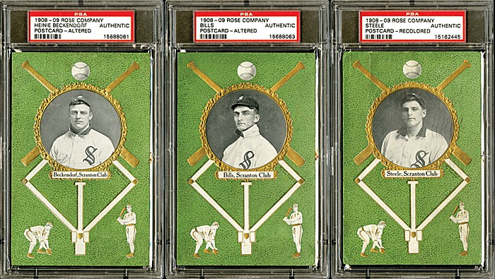 Three from a group of seven 1908 Rose Company postcards, all featuring Scranton Miners players, realized $1,896 during Robert Edward Auctions' fall 2013 sale. Image courtesy of Robert Edward Auctions.