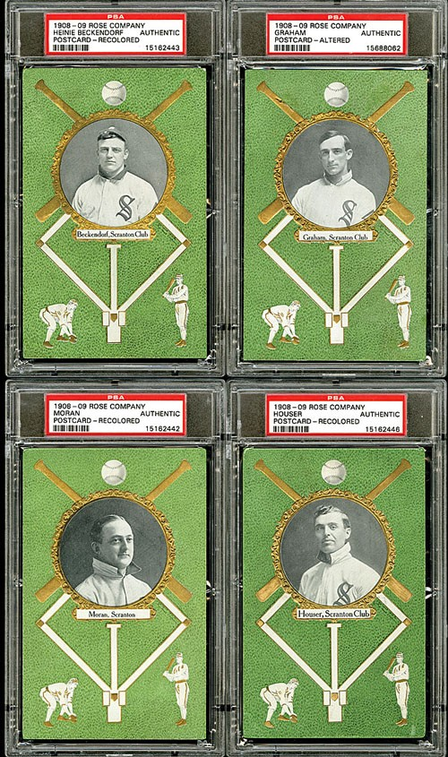 Four from a group of seven 1908 Rose Company postcards showcasing Scranton Miners players, which realized $1,896 during Robert Edward Auctions' fall 2013 sale. Image courtesy of Robert Edward Auctions.