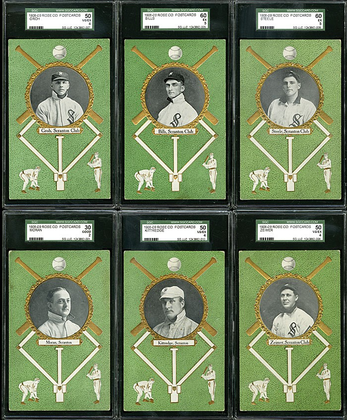 Six from a lot of 12 1908 Rose Company postcards, all featuring Scranton Miners players and including the elusive E.J. Coleman postcard, achieved $4,148 during Robert Edward Auctions' fall 2013 sale. Image courtesy of Robert Edward Auctions.
