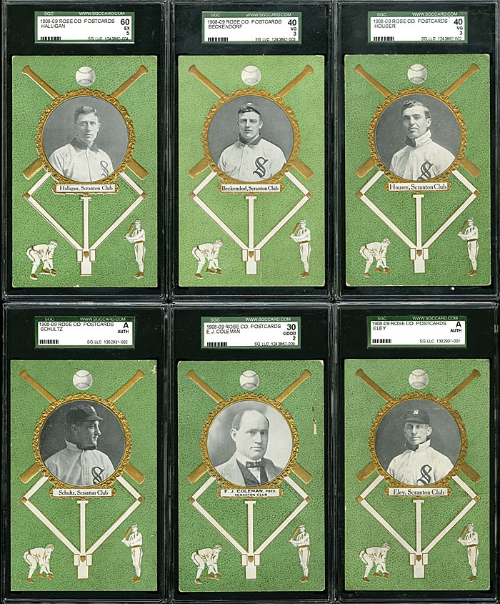 Six from a lot of 12 1908 Rose Company Scranton Miners postcards that included the elusive E.J. Coleman postcard (pictured in the middle of the bottom row), achieved $4,148 during Robert Edward Auctions' fall 2013 sale. Image courtesy of Robert Edward Auctions.