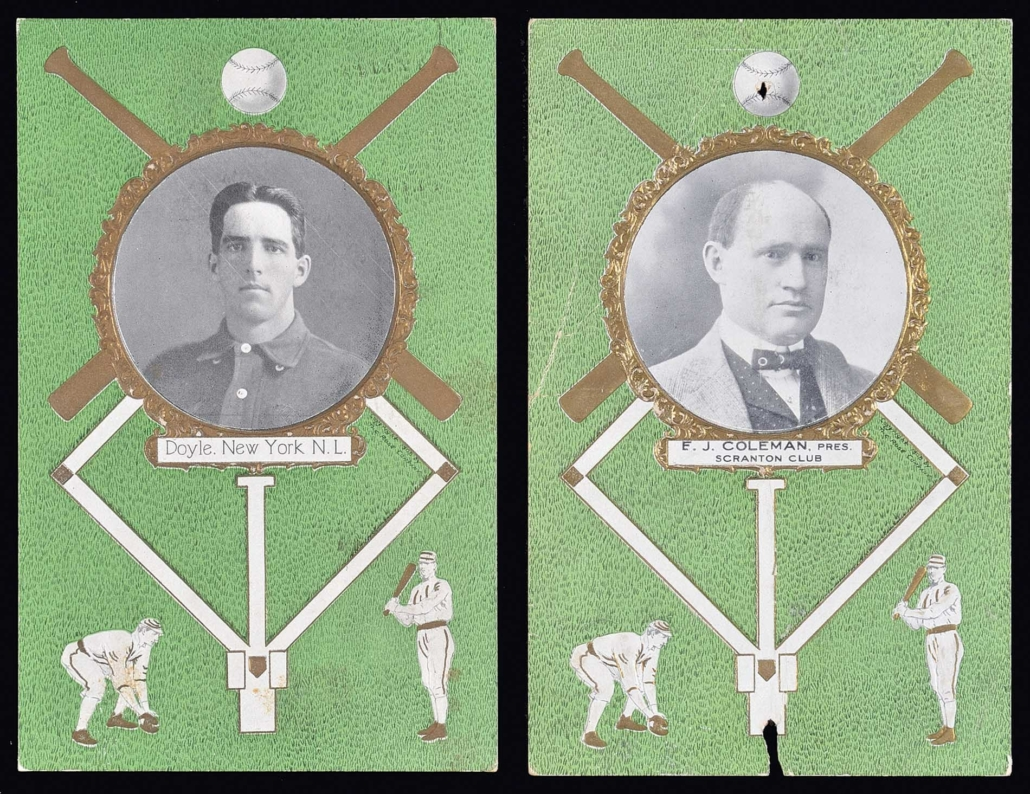 A scarce set of 1908 Rose Company postcards, one featuring E.J. Coleman, president of the Scranton Miners baseball club, sold for $660 at Robert Edward Auctions' spring 2018 sale. Image courtesy of Robert Edward Auctions.