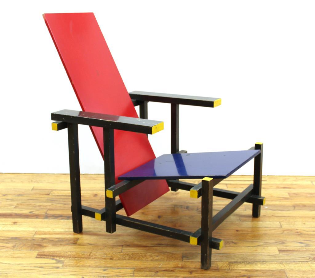 Gerrit Rietveld Bauhaus Red Blue chair by Cassina, est. $1,000-$2,000