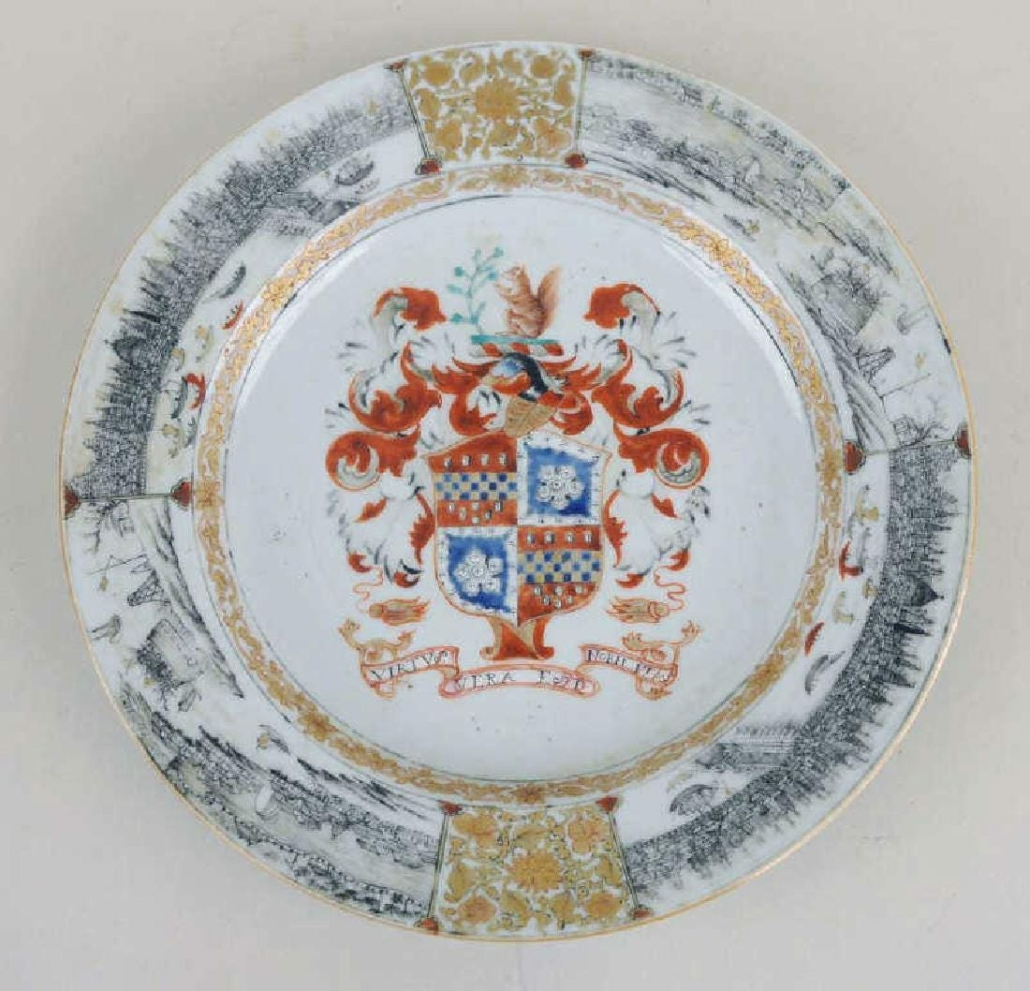 A circa-1735 Chinese Export armorial porcelain plate bearing the arms of Lee of Coton Hall brought $14,000 plus the buyer's premium in January 2018 at Schwenke Auctioneers. Image courtesy of Schwenke Auctioneers and LiveAuctioneers
