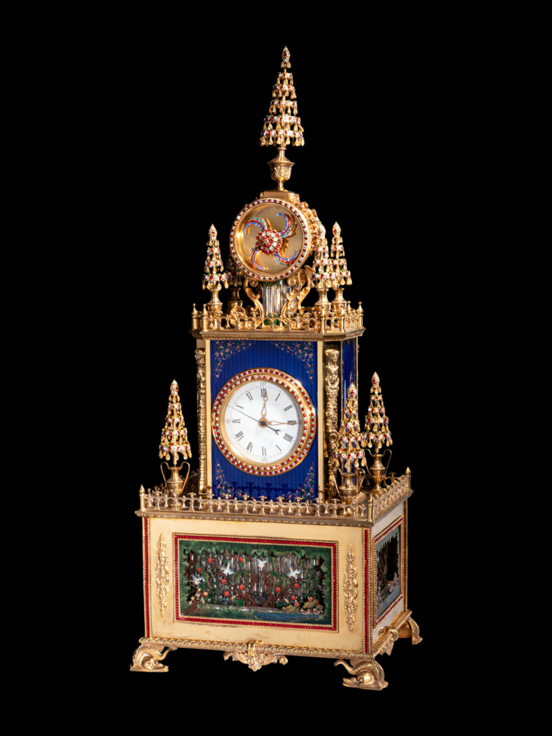 Chinese ornolu musical and automaton clock, est. $40,000-$60,000