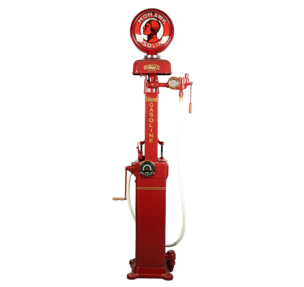 A restored Bowser Model #97 clockface gas pump earned $6,500 plus the buyer's premium in April 2017 at Dan Morphy Auctions. Image courtesy of Dan Morphy Auctions and LiveAuctioneers.