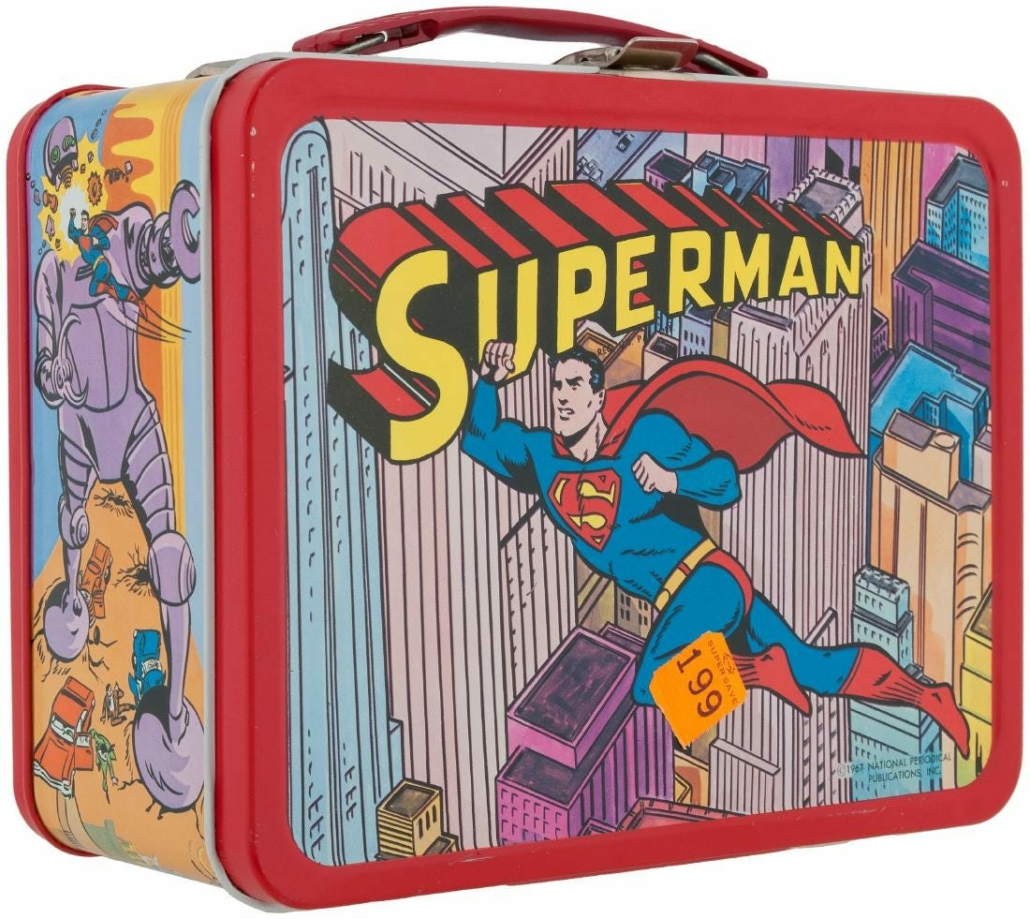 This unused Superman lunchbox with Thermos achieved $2,200 plus the buyer's premium in March 2017 at Hake's Auctions. Image courtesy of Hake's Auctions and LiveAuctioneers.