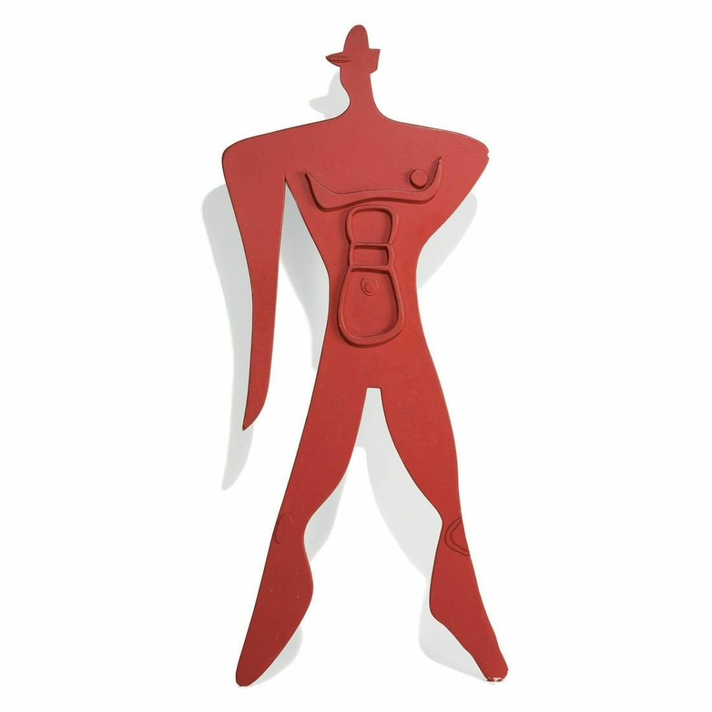This figure, known as the Modulor, is a recurring motif for Le Corbusier. A red-lacquered example sold for $114,916 plus the buyer's premium in April 2021 at Tajan. Image courtesy of Tajan and LiveAuctioneers.