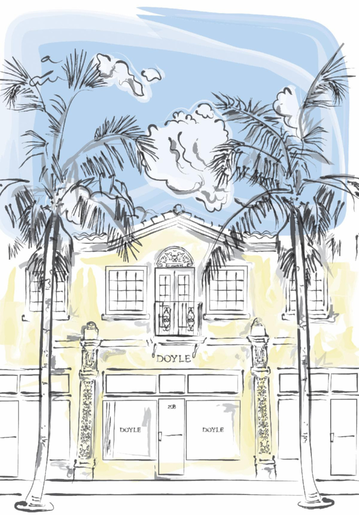 An illustration of the exterior of the newly-opened Doyle gallery in Palm Beach, Florida.