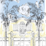 An illustration of the exterior of the newly-opened Doyle gallery in Palm Beach, Florida