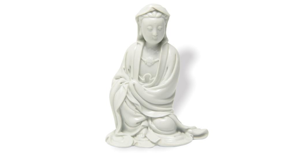 Chinese Dehua blanc de chine porcelain Guanyin, 18th century, est. $60,000-$80,000