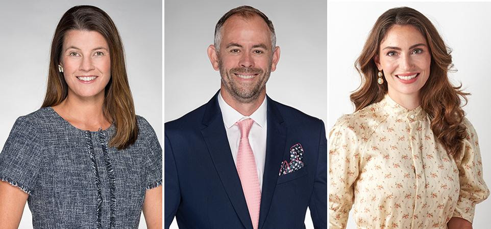 Doyle specialists at its new gallery in Palm Beach, Florida include Collin Albertsson, SVP, Director; Sebastian Clarke, AAA, SVP; and Katherine Van Dell, G.G.