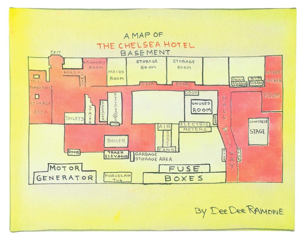 Dee Dee Ramone's hand-drawn map of The Chelsea Hotel Basement, $8,750