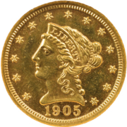 1905 Liberty Head quarter eagle in Proof-65, $10,625. Image courtesy of Skinner, Inc.