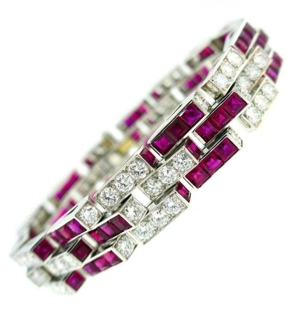 Oscar Heyman platinum, ruby and diamond bracelet, est. $96,000-$115,000