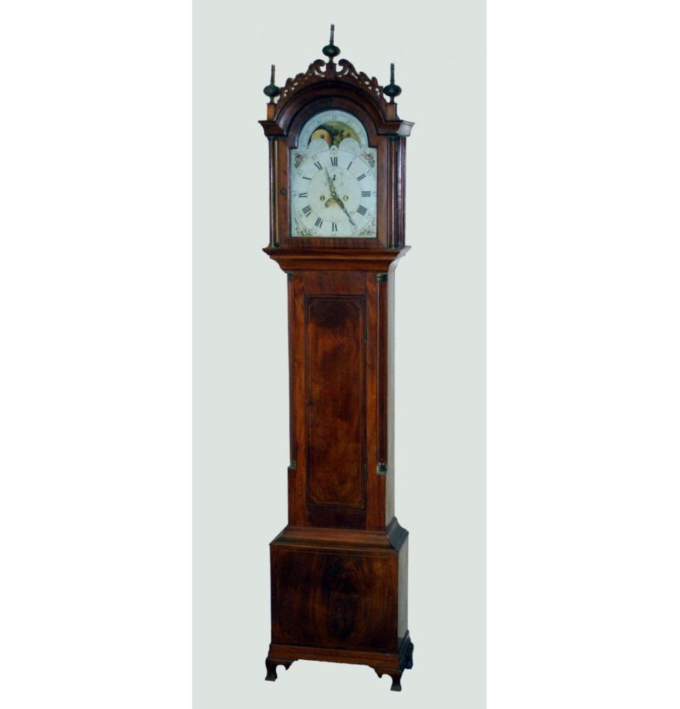 Circa-1785 mahogany tall case clock, est. $18,000-$22,000