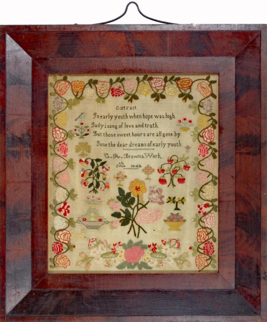 1843 sampler by C.R. Brown, est. $1,100-$1,500