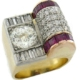 Circa-1940s asymmetrical 14K yellow gold ring with diamonds and rubies, est. $22,000-$26,000