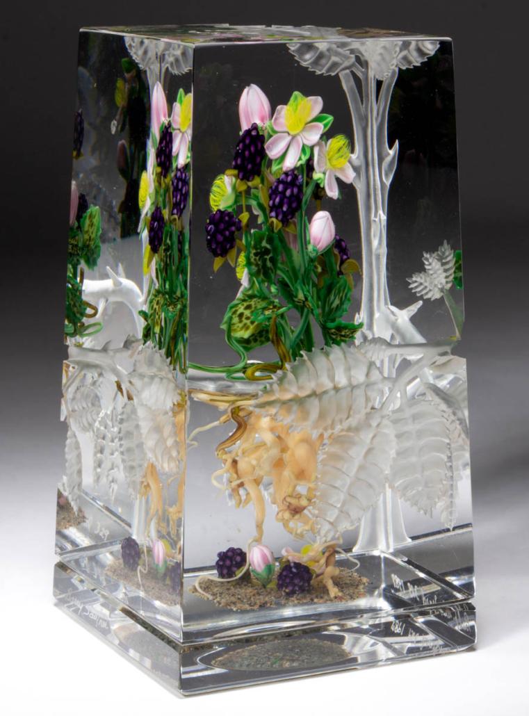 Paul Stankard and Barry Sautner engraved botanical lampwork paperweight sculpture, est. $4,000-$6,000