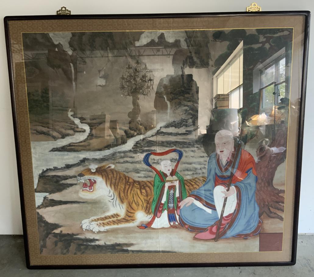 Framed ink and color on silk artwork, est. $500-$1,000