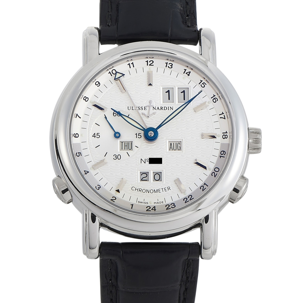 Ulysse Nardin limited edition Big Date GMT perpetual 40mm platinum automatic watch, est. $50,000-$52,000