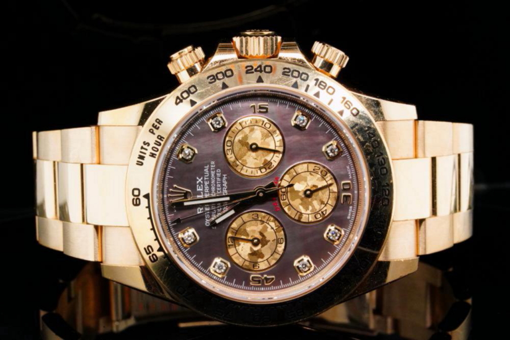 Rolex 18K yellow gold Daytona with factory Tahitian mother of pearl dial and diamond markers, est. $58,000-$60,000