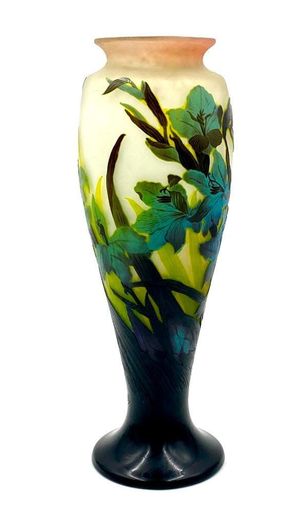 Galle Lilies large cameo glass vase, $9,225