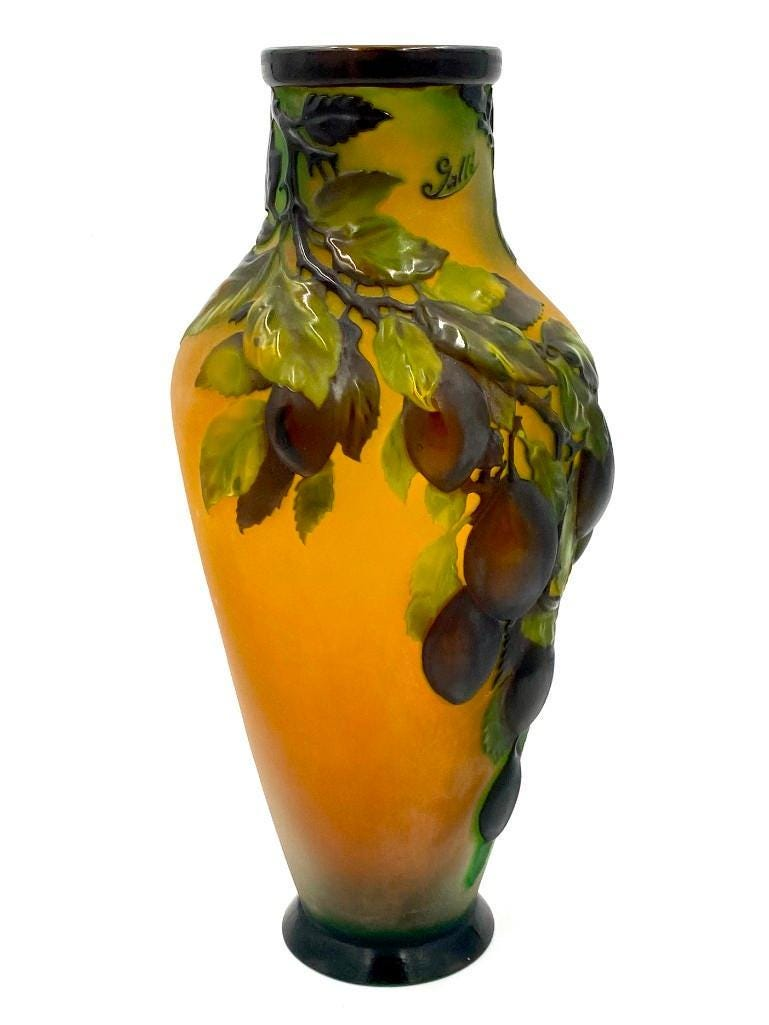 Galle Plums cameo glass vase, $9,840