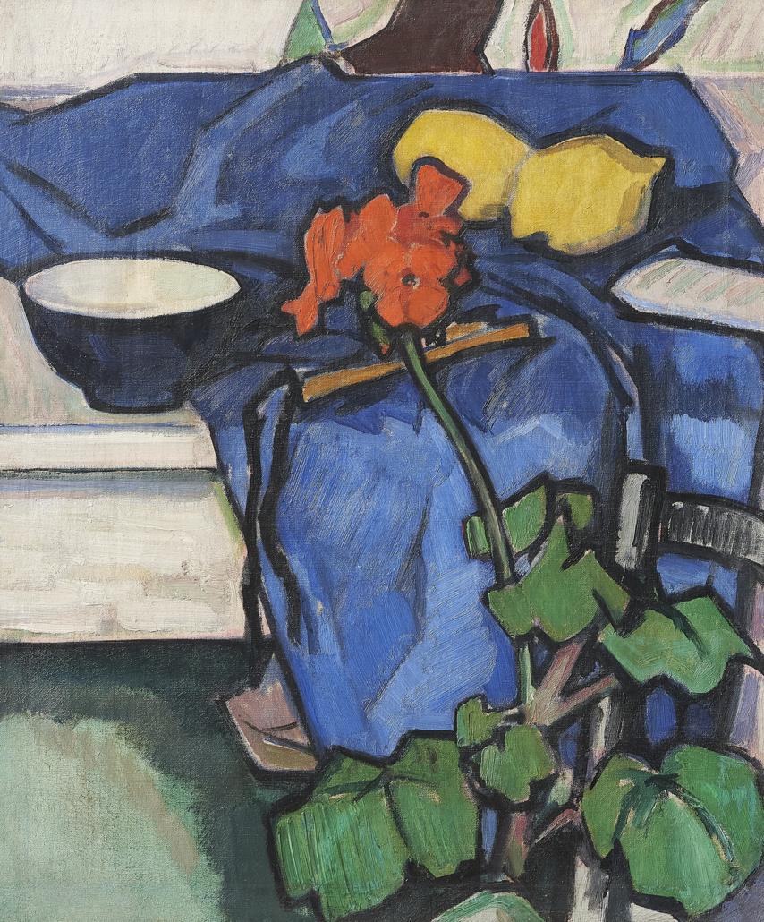Samuel Peploe, 'Still Life with Geranium,' est. £150,000-£250,000. Image courtesy of Bonhams