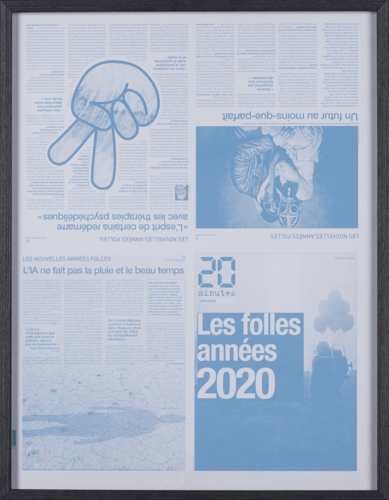 In addition to the NFT, the lot includes the offset printing plate used to create the front page and three other pages of the January 13, 2020 20 Minutes newspaper supplement.