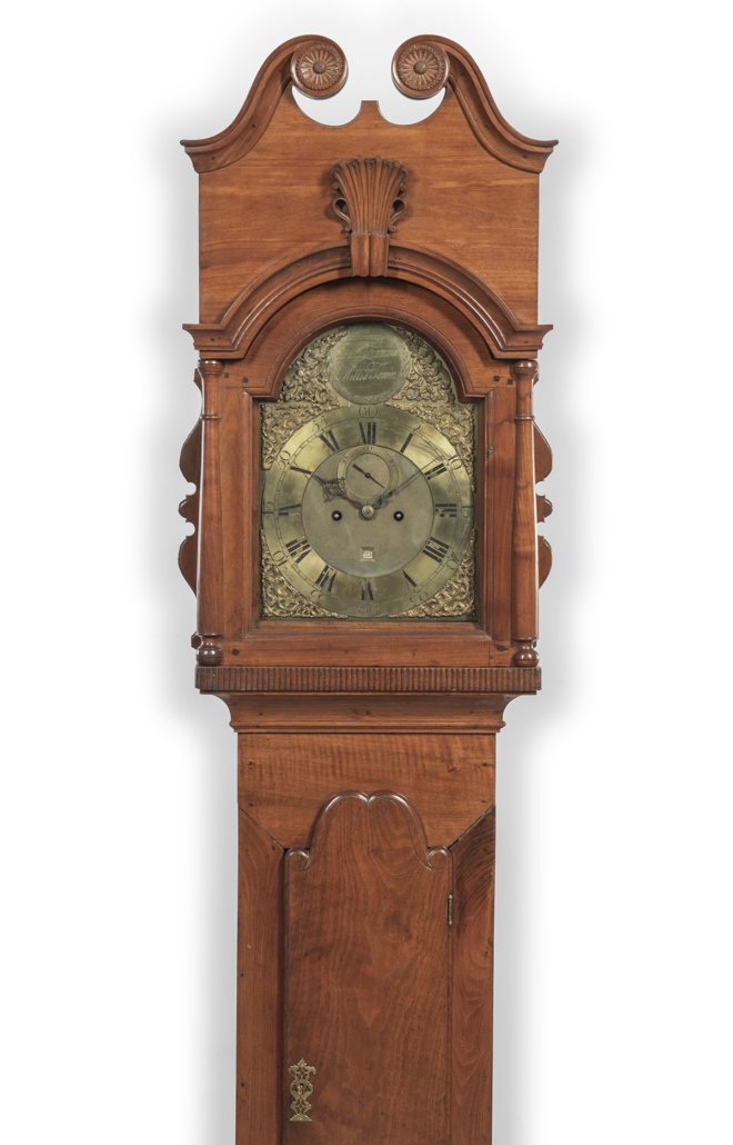 Circa-1765 Isaac Thomas carved curly walnut tall clock, est. $20,000-$30,000. Image courtesy of Skinner, Inc.