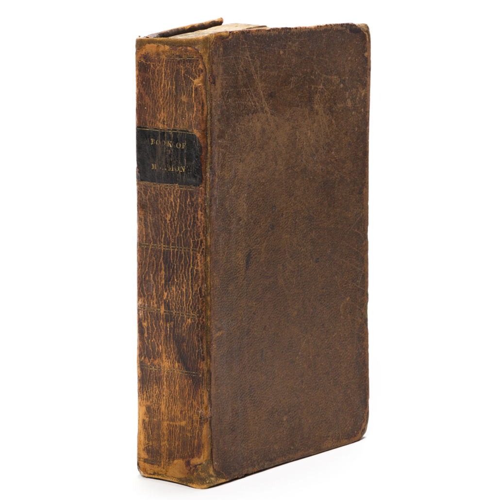 1830 first edition of The Book of Mormon. Sold for $112,500, a record for the book
