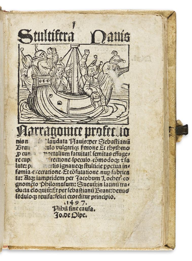Sebastian Brant, 'Stultifera Navis,' 1497, est. $15,000-$20,000