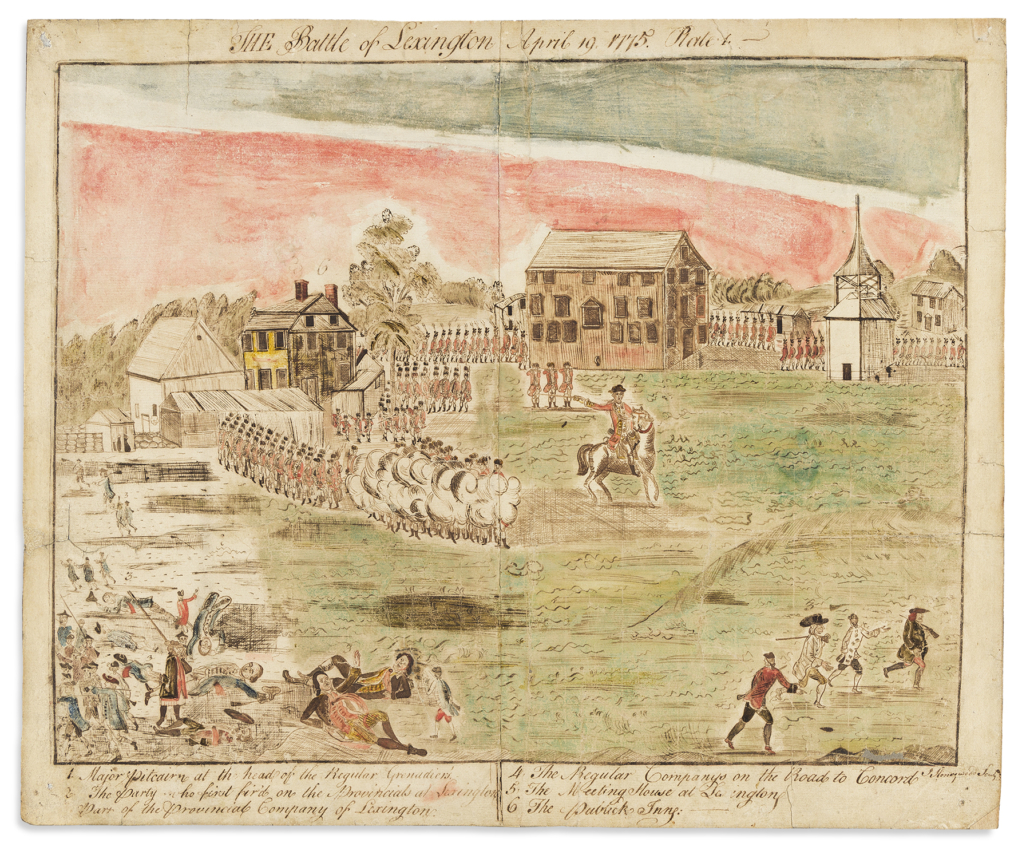 St. John Honeywood, 'Battles of Lexington and Concord,' circa 1778, after the famous engravings by Doolittle, $100,000