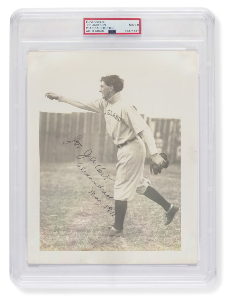 Exceedingly scarce and important 1911 'Shoeless' Joe Jackson autographed photograph, sold for $1,470,000 at Christie's and Hunt Auctions' Oct. 8, 2021 sale in New York. It is a world auction record for any signed sports photo. Courtesy of Christie's Images Ltd.