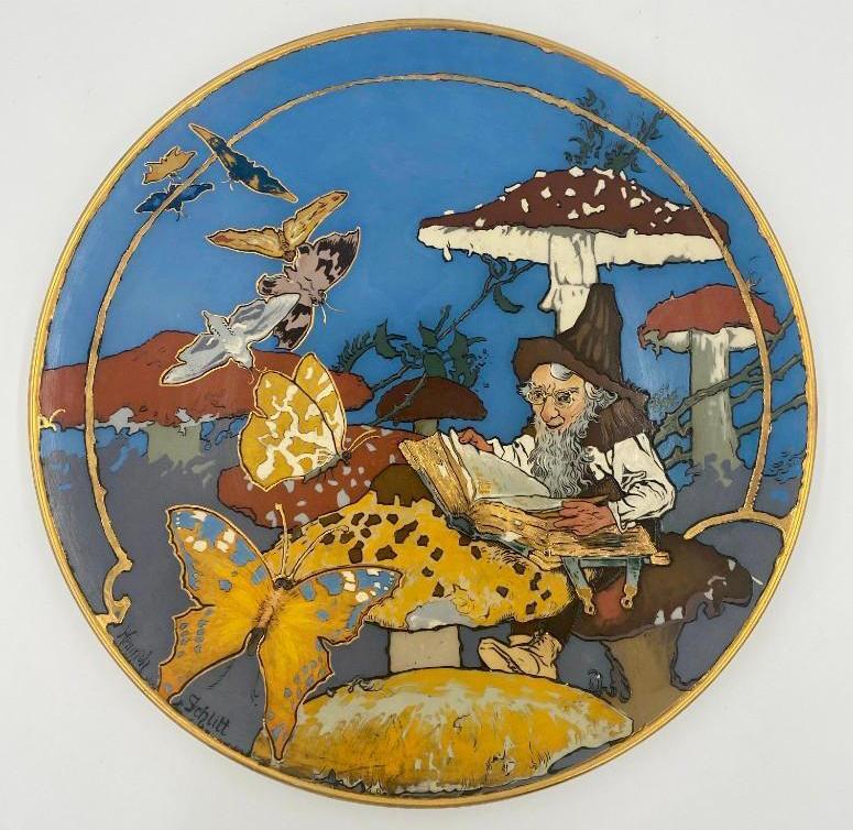 Heinrich Schlitt Mettlach stoneware charger, $3,321