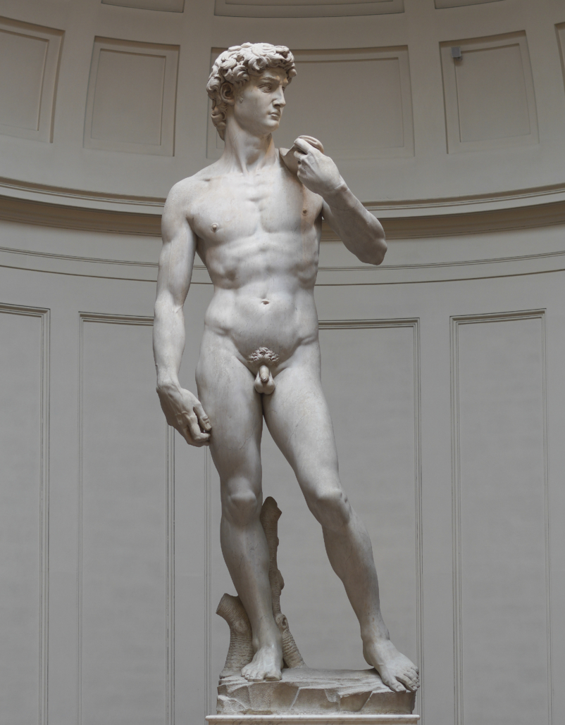 Michelangelo's David, shown in its longtime home at the Galleria dell'Accademia in Florence. A 3D replica of the legendary sculpture, installed at the Italy pavilion at Expo 2020 in Dubai, is proving controversial for the exclusionary way in which it is displayed. Image courtesy of Wikimedia Commons, credited to Commonists and licensed under the Creative Commons Attribution-Share Alike 4.0 International license.