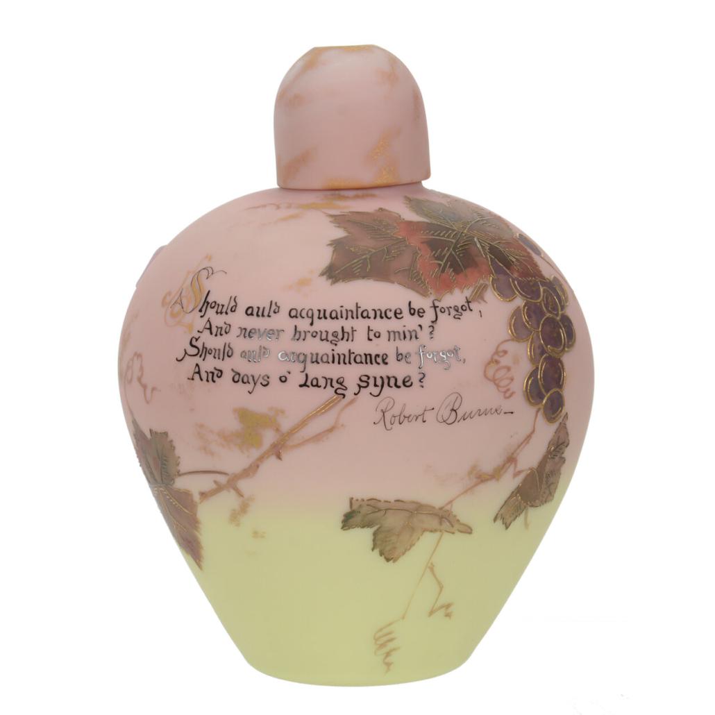 Mt. Washington Burmese art glass ginger jar, est. $1,500-$3,000