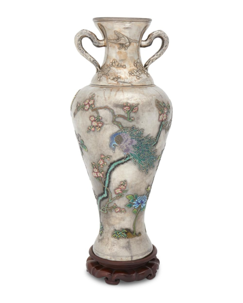 Large Chinese silver and cloisonne enamel vase by Wang Hing, $50,000