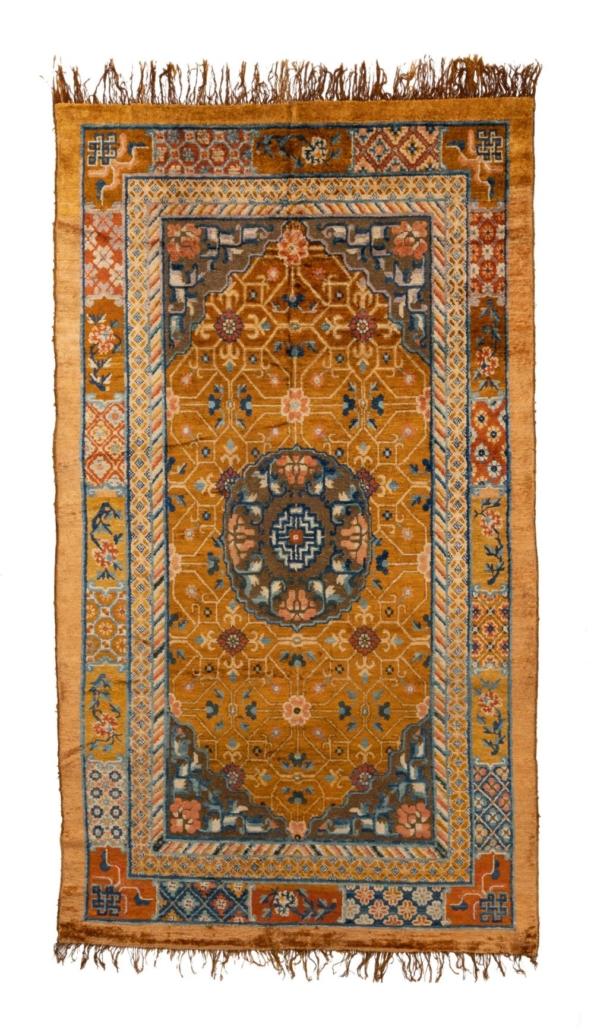 Chinese silk and metal thread area rug, $15,000