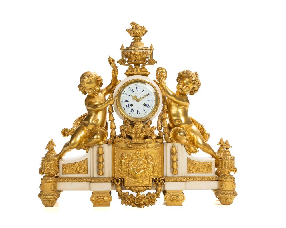 French gilt-bronze and marble mantel clock retailed by Tiffany & Co., $11,875