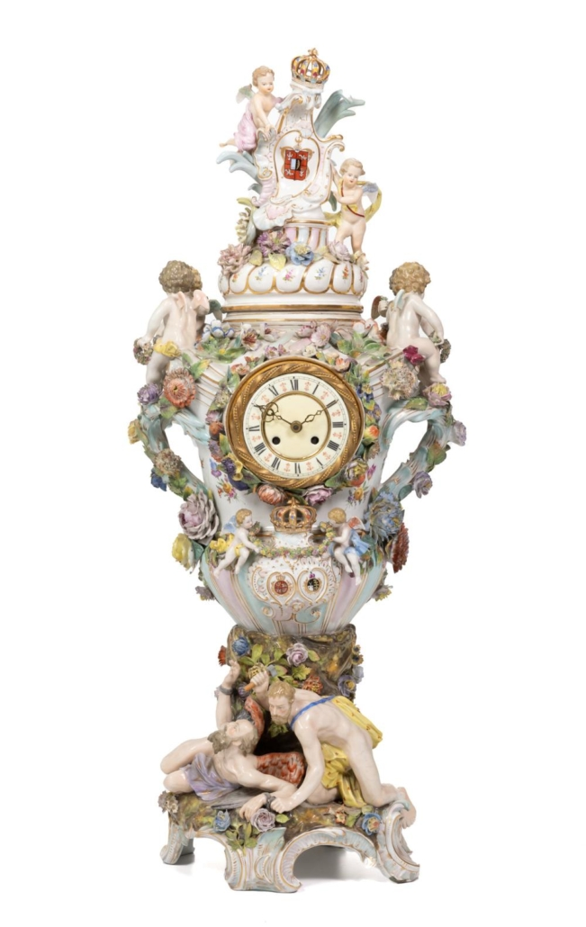 Monumental Meissen-style relief-decorated porcelain table clock, $5,850