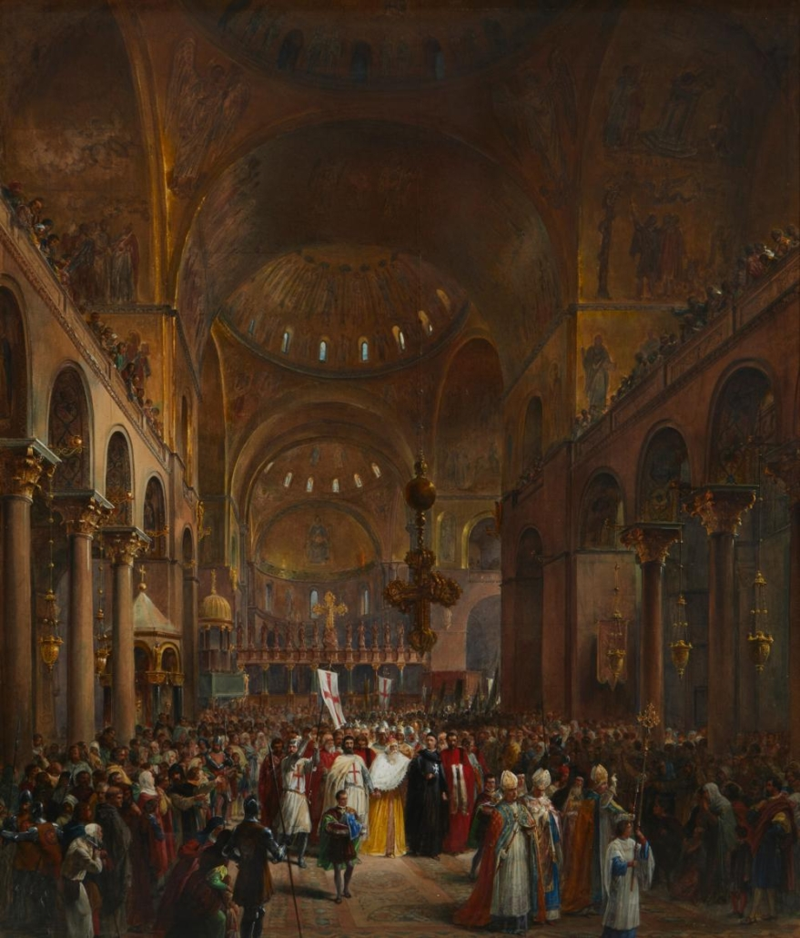Louis Haghe, 'The Duke Andre Dandolo Departing for the Crusade from St. Mark's Cathedral, Venice,' $6,091