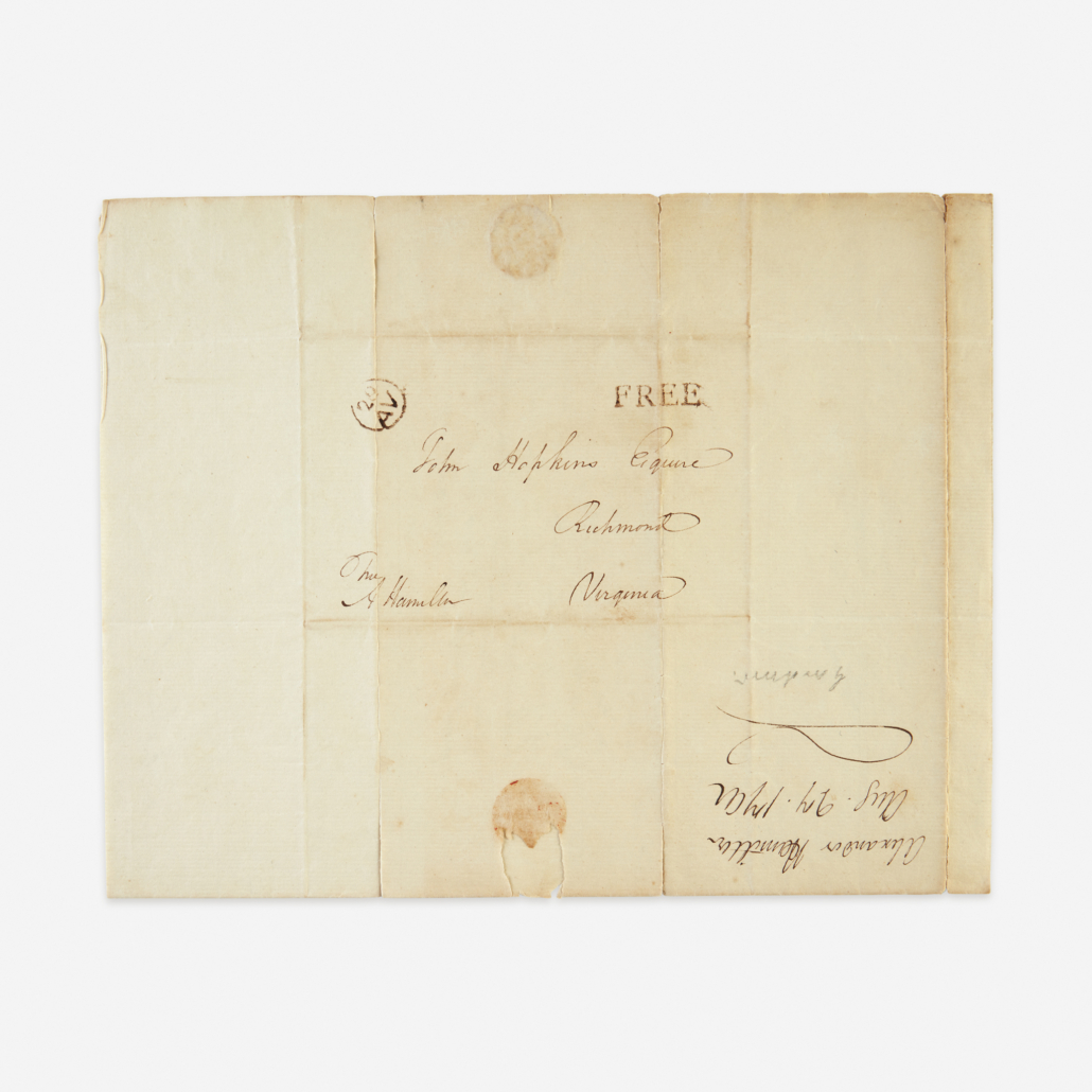 Back side of the 1792 letter from Hamilton to John Hopkins, est. $8,000-$12,000