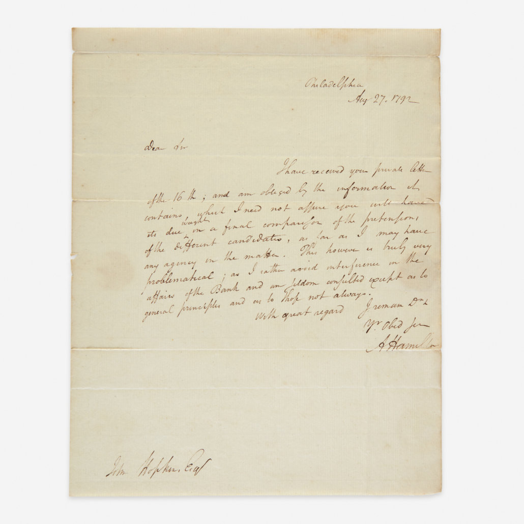 1792 letter signed by Hamilton as the first US Secretary of the Treasury to John Hopkins, Commissioner of Loans for the State of Virginia, est. $8,000-$12,000