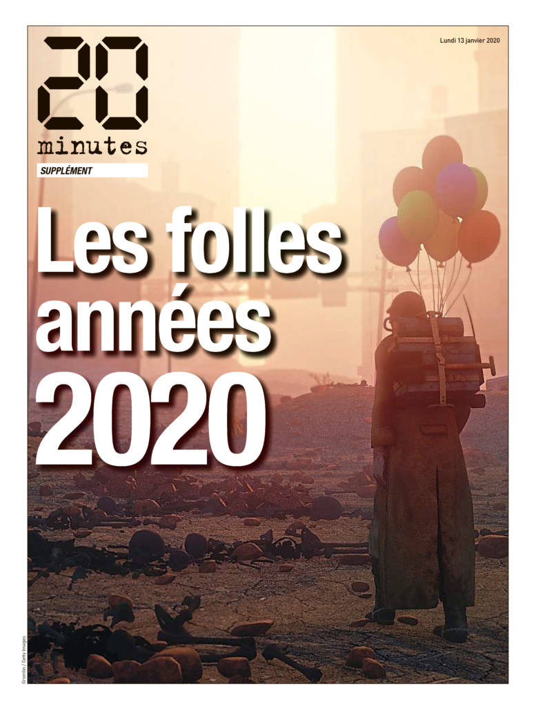 Front page of the collector's edition of 20 Minutes, part of the lot that PIASA will auction as a non-fungible token (NFT) on October 19 to benefit the International Federation of Journalists. It carries an estimate of €2,000-€3,000.