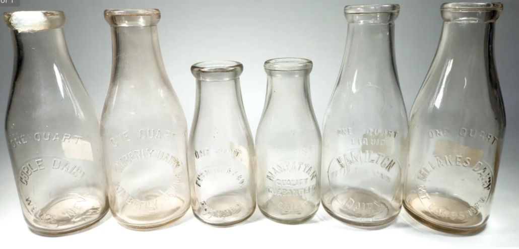 This grouping of six Eastern Nevada embossed milk bottles, drawn from Fred Holabird's personal collection, achieved $1,250 plus the buyer's premium in February 2021 at Holabird Western Americana Collections. Image courtesy of Holabird Western Americana Collections and LiveAuctioneers.