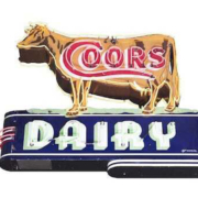 This die-cut porcelain neon Coors Dairy sign earned $34,500 plus the buyer's premium in December 2017 at Dan Morphy Auctions. Image courtesy of Dan Morphy Auctions and LiveAuctioneers.