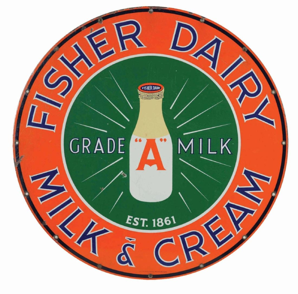 A Fisher Dairy Milk & Cream porcelain advertising sign sold for $4,250 plus the buyer's premium in April 2019 at Dan Morphy Auctions. Image courtesy of Dan Morphy Auctions and LiveAuctioneers.