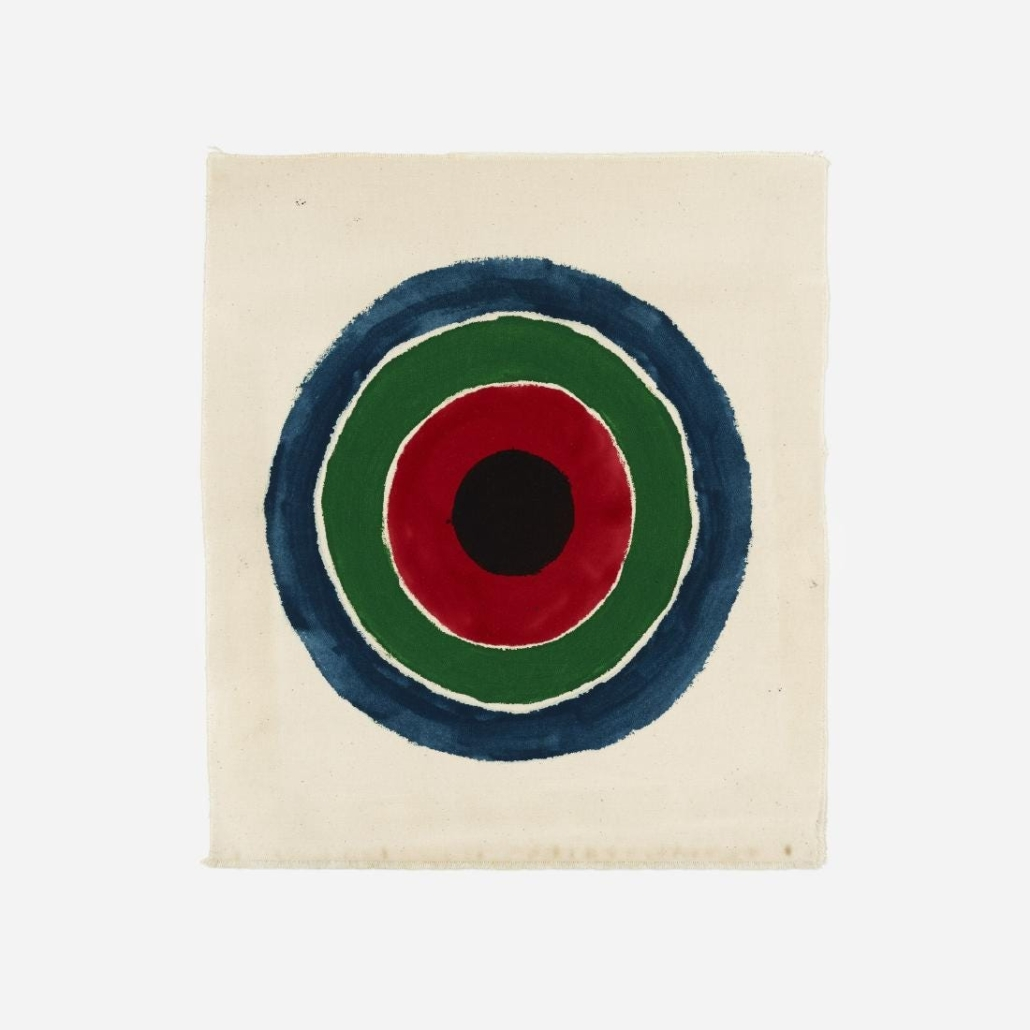 Kenneth Noland frequently played with circular motifs, as in this untitled work from 1963 that brought $120,000 plus the buyer's premium in September 2018 at Wright. Image courtesy of Wright and LiveAuctioneers