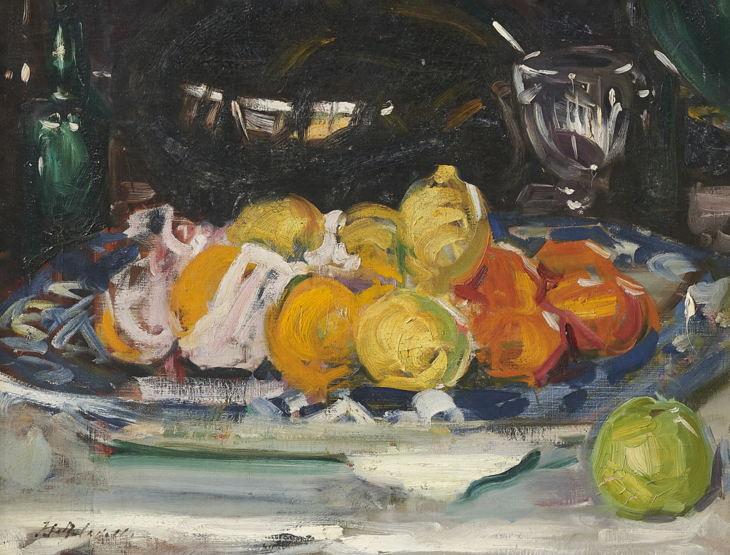 Francis Campbell Boileau Cadell, 'Still Life with Oranges, Lemons and an Apple,' est. £100,000-£150,000. Image courtesy of Bonhams
